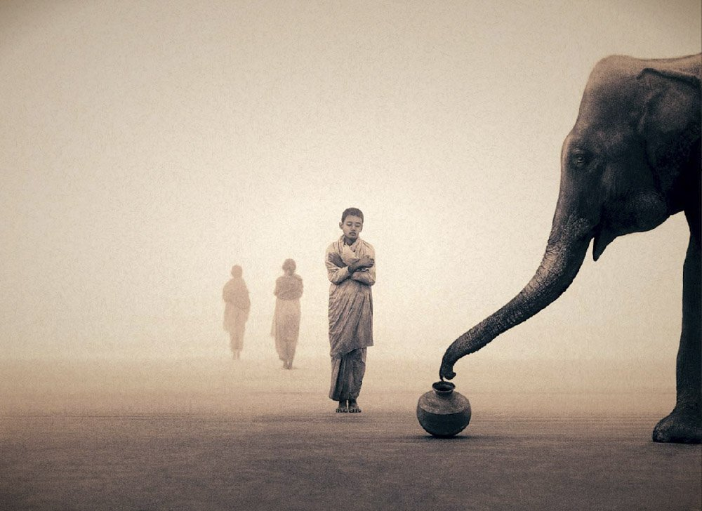 Girl Gone Authentic - Ashes and Snow - Gregory Colbert - Boy monks elephant