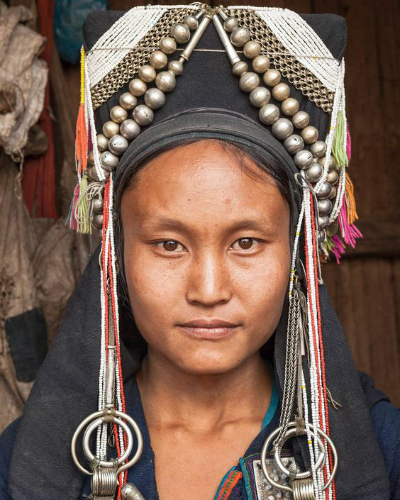 Akha woman elaborate headdress