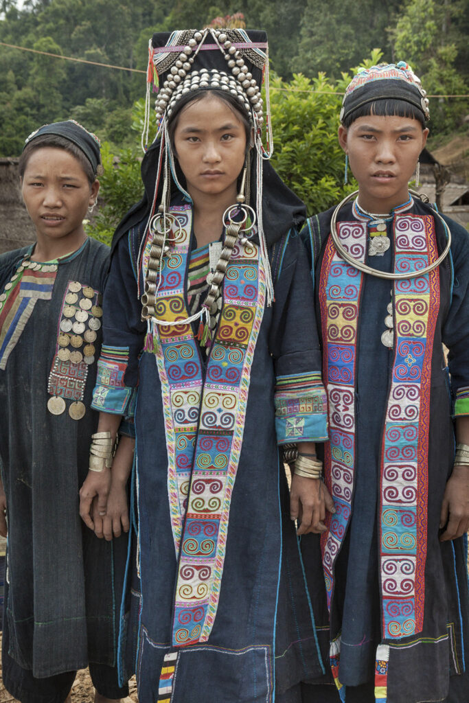 Akha girls in handmade clothes